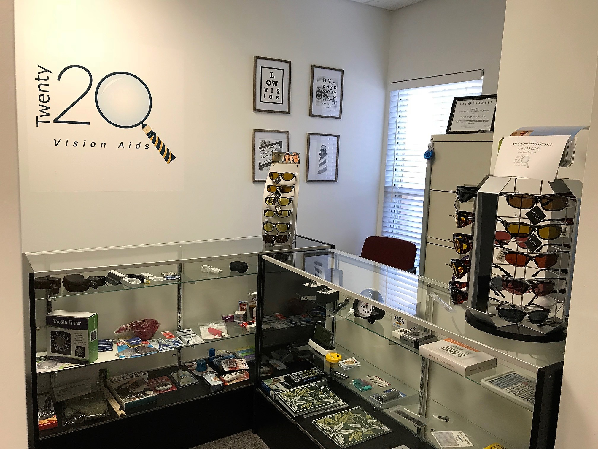 Photograph of the Twenty20 Vision store showing many items available for purchase